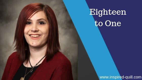 A blog feature image showing a headshot of author Dove Calderwood with the title 'Eighteen to One' over the top
