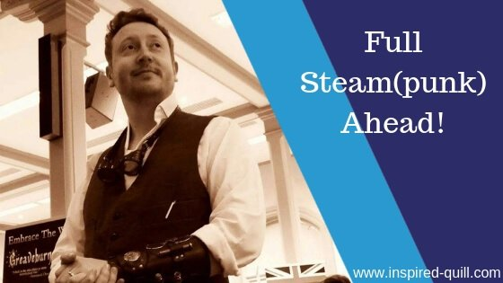 A blog feature image showing a sepia picture of author Craig Hallam with the title 'Full Steam(punk) Ahead' over the top