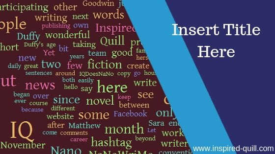 A blog feature image showing an Inspired Quill word cloud with the title 'Insert Title Here' over the top