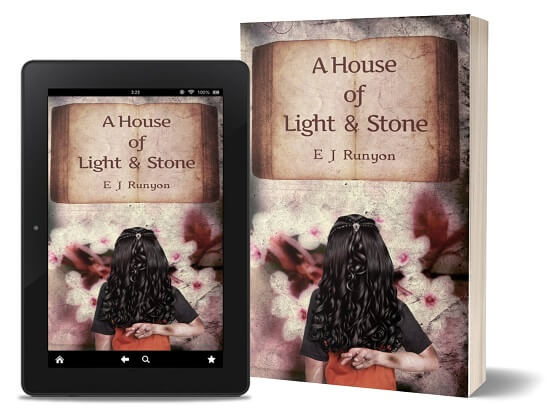 A book-and-ipad composite of the A House of Light and Stone front cover