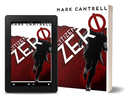 A book-and-ipad composite of the Citizen Zero front cover