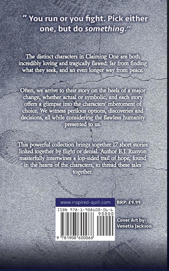 Back cover of literary short story collection Claiming One (by E.J. Runyon)