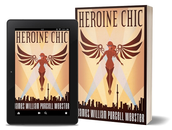 A book-and-ipad composite of the Heroine Chic front cover