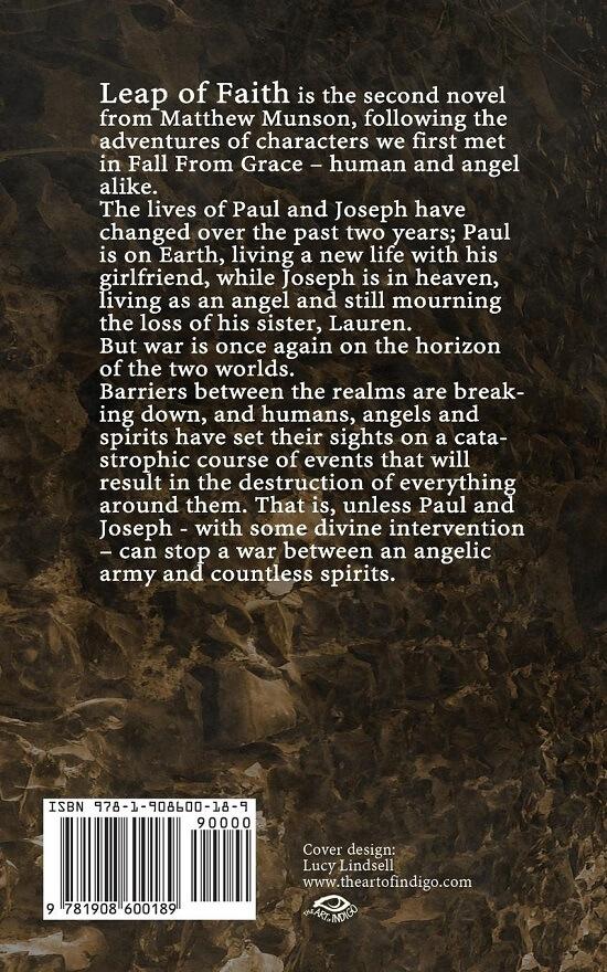 Back cover of urban fantasy novel Leap of Faith (by Matthew Munson)