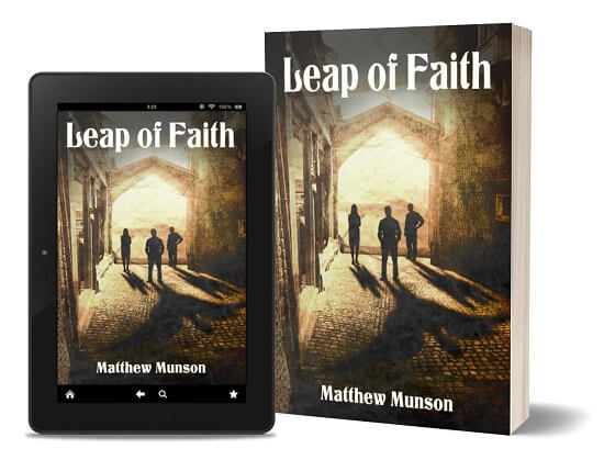A book-and-ipad composite of the Leap of Faith front cover