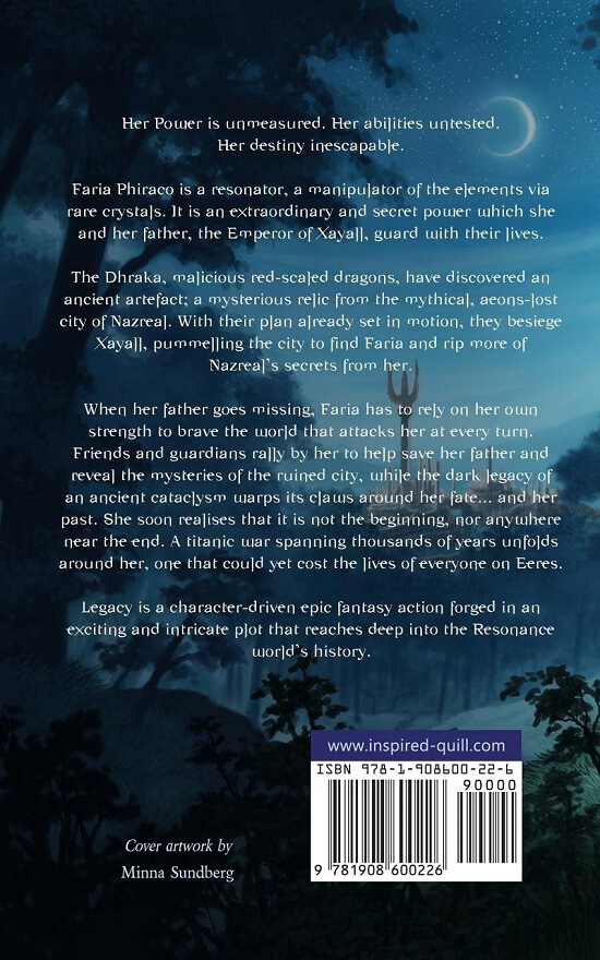 Back cover of furry fantasy novel Legacy (by Hugo Jackson)
