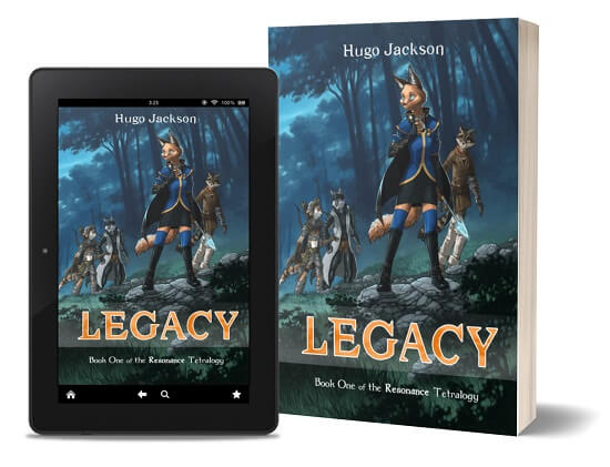 A book-and-ipad composite of the Legacy front cover