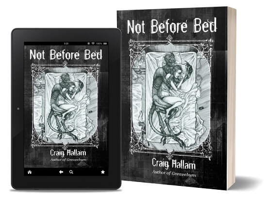 A book-and-ipad composite of the Not Before Bed front cover