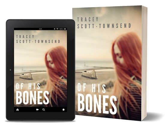 A book-and-ipad composite of the Of His Bones front cover