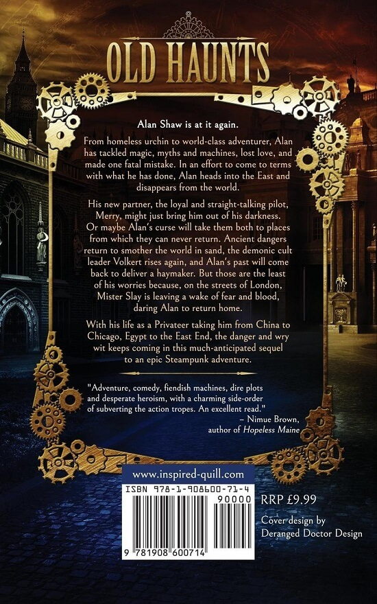 Back cover of steampunk adventure novel Old Haunts (by Craig Hallam)