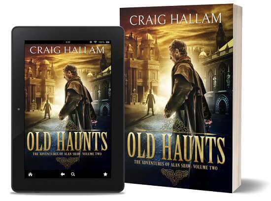 A book-and-ipad composite of the Old Haunts front cover