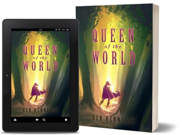 A book-and-ipad composite of the Queen of the World front cover