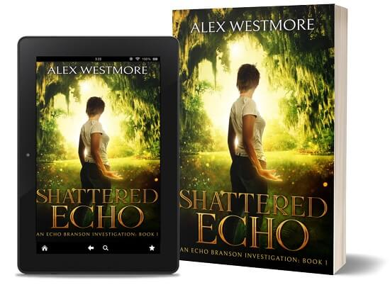 A book-and-ipad composite of the Shattered Echo front cover