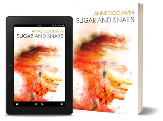 A book-and-ipad composite of the Sugar and Snails front cover