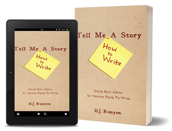 A book-and-ipad composite of the Tell Me How To Write A Story front cover
