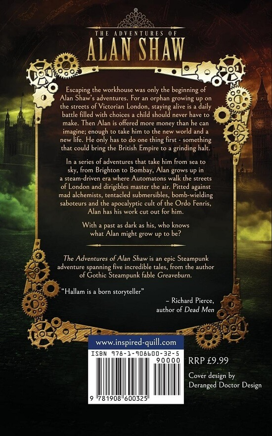 Back cover of steampunk adventure novel The Adventures of Alan Shaw (by Craig Hallam)