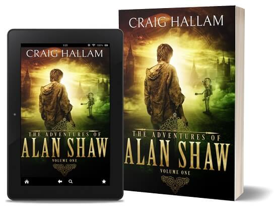 A book-and-ipad composite of The Adventures of Alan Shaw (Book 1) front cover