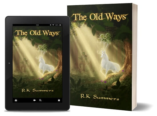 A book-and-ipad composite of The Old Ways front cover