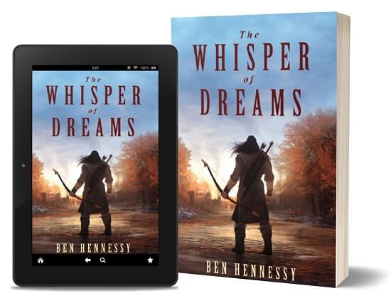 A book-and-ipad composite of The Whisper of Dreams front cover