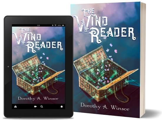 A book-and-ipad composite of The Wind Reader front cover