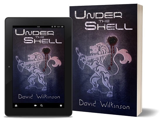 A book-and-ipad composite of the Under The Shell front cover