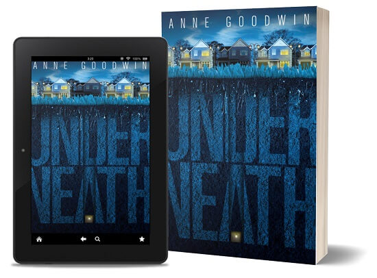 A book-and-ipad composite of the Underneath front cover