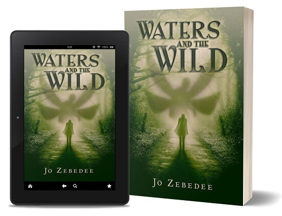 A book-and-ipad composite of the Water and the Wild front cover