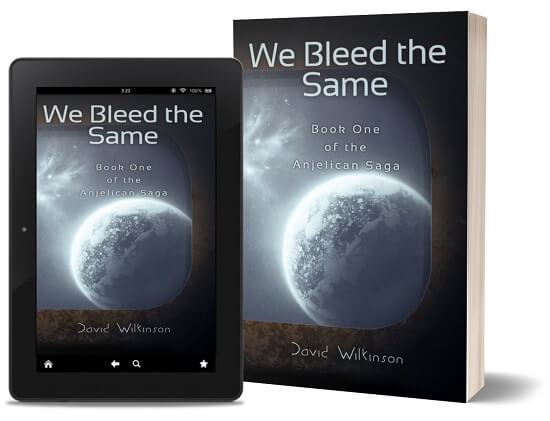 A book-and-ipad composite of the We Bleed The Same front cover