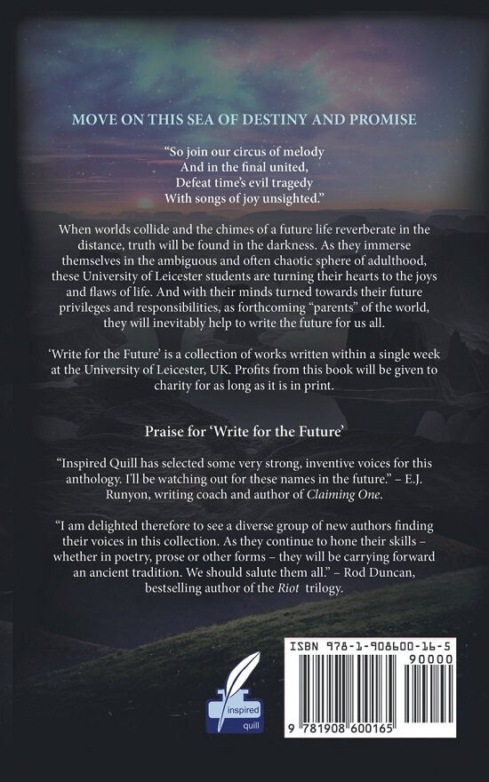 Back cover of charity anthology Write For The Future