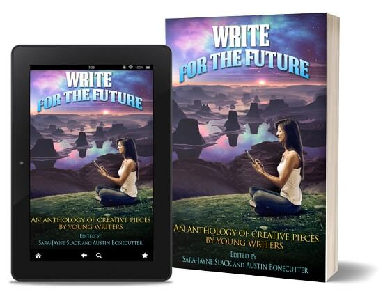 A book-and-ipad composite of the Write For The Future front cover