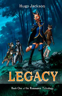 Furry fantasy book cover for Legacy (by Hugo Jackson)