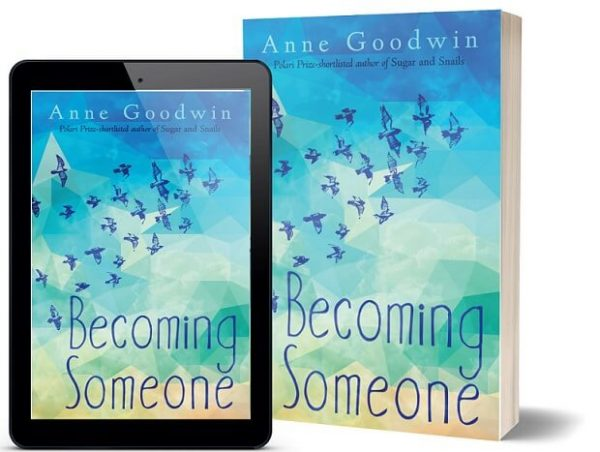A book-and-ipad composite of the Becoming Someone front cover