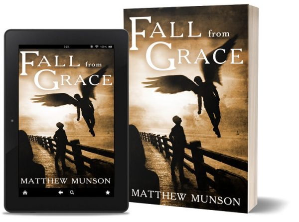 A book-and-ipad composite of the Fall From Grace front cover