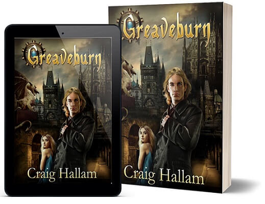 A book-and-ipad composite of the Greaveburn front cover