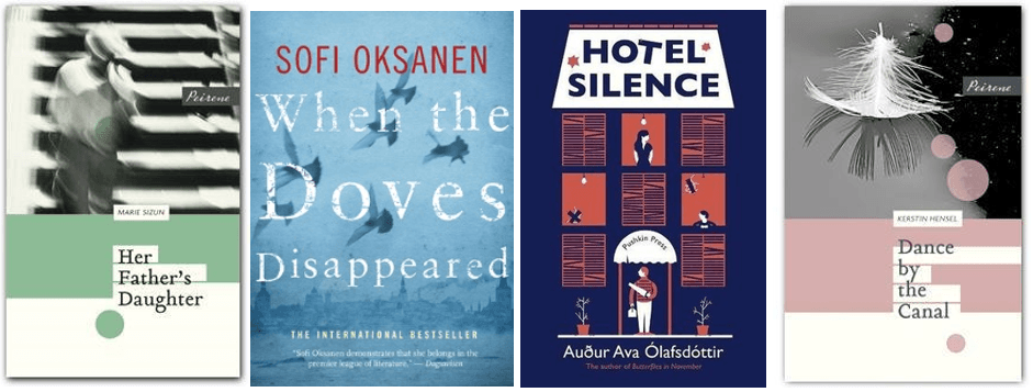 Book Covers Showing the titles 'Her Father's Daughter', 'When the Doves Disappeared', 'Hotel Silence' and 'Dance by the Canal'
