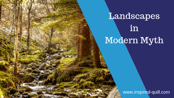 Blog banner showing an Irish Forest with 'Landscapes in Modern Myth' written on it