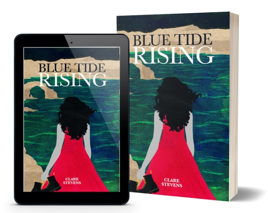 A book-and-ipad composite of the Blue Tide Rising front cover