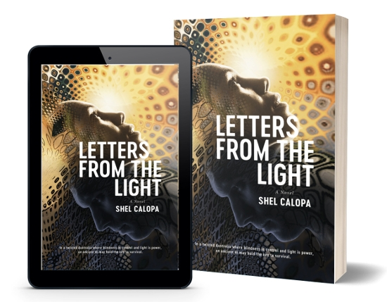 A book-and-ipad composite of the Letters From The Light front cover