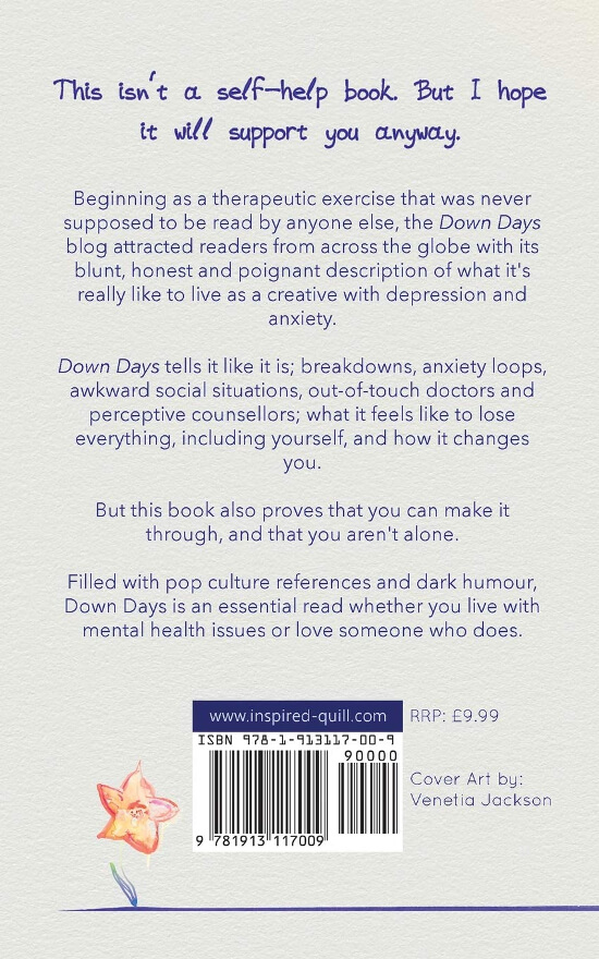 Back cover of non-fiction (mental health) book Down Days (by Craig Hallam)