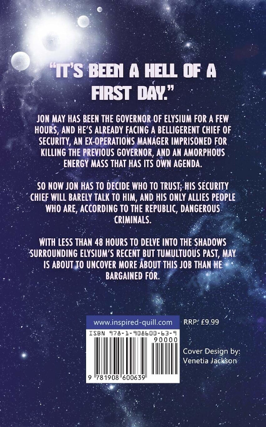 Back cover of Sci-Fi novel Elysium's Shadow (by Matthew Munson)