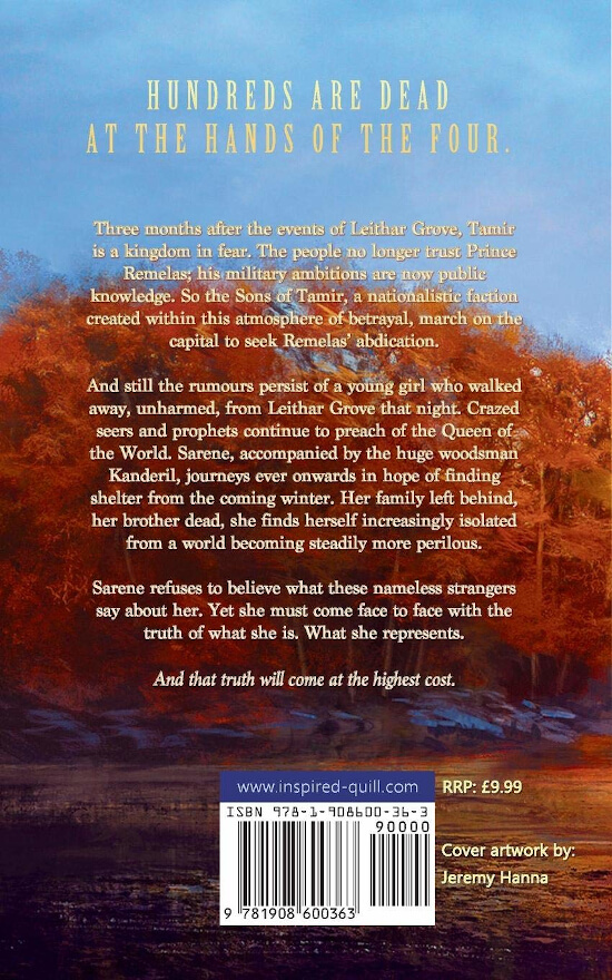 Back cover of epic fantasy novel The Whisper of Dreams (by Ben Hennessy)