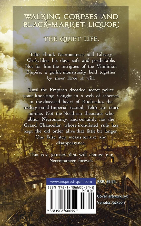 Back cover for the Steampunk Urban Fantasy book Wise Phuul by Daniel Stride