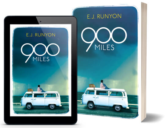 A book-and-ipad composite of the 900 Miles front cover