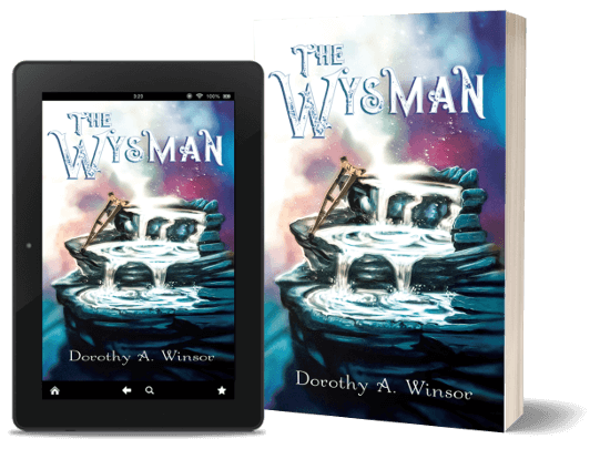 A book-and-ipad composite of the The Wysman front cover