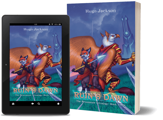 A book-and-ipad composite of the Ruin's Dawn front cover