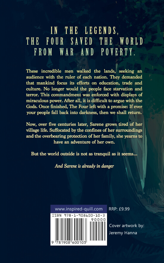 Back cover of epic fantasy novel Queen of the World (by Ben Hennessy)