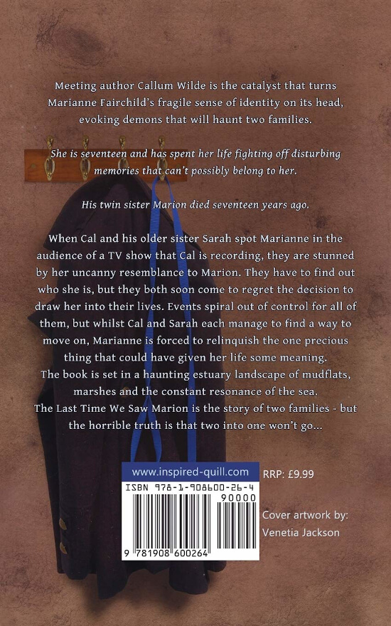 Back cover of literary fiction novel The Last Time We Saw Marion (by Tracey Scott-Townsend)
