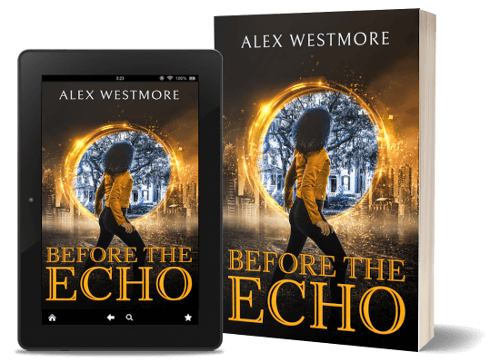 A book-and-ipad composite of the Before The Echo front cover