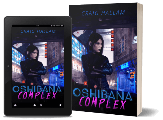 A book-and-ipad composite of the Oshibana Complex front cover