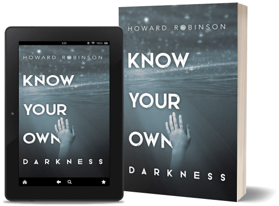 A book-and-ipad composite of the Know Your Own Darkness front cover